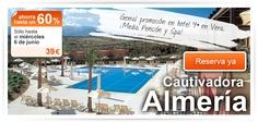 Genial promoción en hotel 4* en Vera. ¡Media Pensión y Spa! Cautivadora Almería, sólo en el Outlet de Viajar.com hasta el miércoles 6 de junio ¡Resérvalo ya! http://bit.ly/Lc5gtg