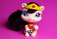 Littlest Pet Shop Wonder Woman Girl Super hero Custom Figure LPS Squirrel OOAK  #Hasbro