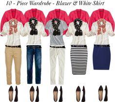 "- Piece Wardrobe - Blazer & White Shirt"" by bluehydrangea ❤ liked on… Capsule Wardrobe, 10 Piece Wardrobe, Capsule Outfits, Fashion Capsule, Fall Wardrobe, Fall Outfits, Pink Blazer Outfits, Travel Wardrobe, Look Fashion"