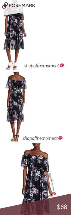 "🔮🆕 Eliza J ♡ Floral Chiffon Midi Dress ♡ Eliza J Floral Chiffon Midi Dress in Black Plum Brand New with Tags in Manufacturer's Packaging   🔮🔮🔮🔮🔮🔮🔮🔮🔮🔮🔮🔮  A magnificent chiffon dress is elevated to new heights by off the shoulder styling and a  ruffled hem. Short ruffle sleeves and a stunning allover print finish the sweet look.   Approximate Measurments: Length: 40""  Fabrication:  Shell/lining: 100% polyester  🔮🔮🔮🔮🔮🔮🔮🔮🔮🔮🔮🔮  ✗ Drama ✗ Trades ⚡️Fast Shipper ☆☆☆☆☆ 5…"