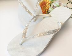 b1bf479d64f51 Custom White Havaianas Slim Flip Flops w  Ivory Cream Crystal Moonlight  Swarovski Rhinestone jewel Glass Slipper Bridal Wedding Shoes Thong