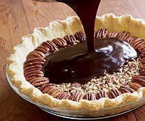 Chocolate Espresso Pecan Pie  3 oz. unsweetened chocolate, coarsely chopped   2 oz. (4 Tbs.) unsalted butter   4 large eggs   1 cup light corn syrup   1 cup granulated sugar   1/4 tsp. kosher salt   2 Tbs. instant espresso powder (or instant coffee)   2 Tbs. coffee liqueur (Kahlúa or Caffé Lolita)   2 cups lightly toasted, coarsely chopped pecans   About 1/2 cup perfect pecan halves