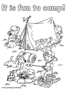 Free camping coloring printables coloring activities and for Summer themed coloring pages
