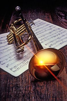 """Trumpet with sunset Photograph  -  Fine Art Print"""