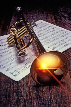 """Trumpet with sunset Photograph  -  Fine Art Print"""