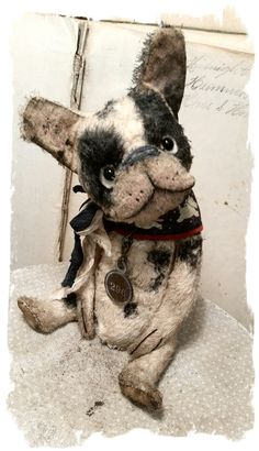 "One of a Kind ""No. 296 "" -  Old French BUlldog Dog handmade by Wendy Meagher of Whendi's Bears - An Original ONE OF A KIND DESIGN                                  ***Approx.  7"" tall -  Antique Style hand tinted French Bulldog Dawg with vintage textiles for collar, vintage ribbons"