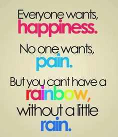 Inspiration Quotes, Happy Inspirational Quotes Everyone Wants Happiness No One Wants Pain But You Cant Have A Rainbow Wthout A Little Rain Gallery Images ~ Best 10 Inspiring Happy Inspirational Quotes About Life Images