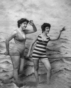 Two Women Posing in Bathing Suits 8x10 Reprint Of Old Photo