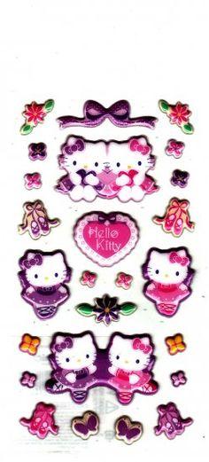 Sanrio+Japan+Hello+Kitty+Ballerina+Puffy+Sticker+Sheet+2010+Kawaii