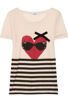 sonia by sonia rykiel heart-print cotton and cashmere t-shirt. $125