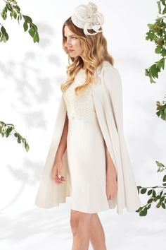 Gina Bacconi presents this elegant cream dress and cape outfit which would look beautiful accessorised with a headpiece and gold jewellery for an impo Mother Of Bride Outfits, Mother Of The Bride, Cape Dress, Groom Outfit, Lace Bodice, Beautiful Outfits, Wedding Dresses, Spring Summer, Wedding Ideas