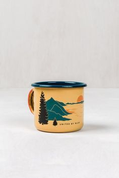 We mean it when we say these mugs are one of a kind: Each piece is handcrafted from steel and then dipped in porcelain for extra durability. West coasters may r