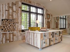 Wow what do you think of this for a Study Room? The logs add a great feature, don't you think? Bedroom Shutters, Interior Decorating, Interior Ideas, Buffet, Cabinet, Logs, Storage, Study, Inspiration