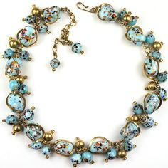 Christian Dior by Kramer Turquoise Marbled Venetian Glass Necklace
