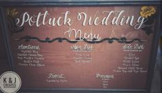 K & J Creates Custom Wedding Menu Glass Frame Decor Signs