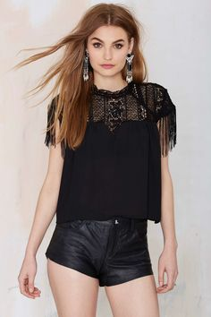 Mock Over Fringe Top