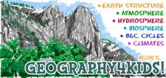 If you are looking for physical geography or earth science basics, stay on this site. It's not just for geography for kids, it's for everyone. This site has an introduction to the earth sciences that includes topics on the Earth's structure, atmosphere, hydrosphere, and biosphere