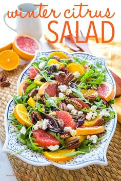 This Healthy Winter Citrus Salad is the perfect holiday side dish! It's packed with bright citrus flavour and served with an easy maple balsamic dressing! Recipe from thebusybaker.ca! #citrus #orange #spice #grapefruit #maplesyrup #maple #balsamic #saladdressing #salad #sidedish #simple #holiday #christmas #thanksgiving #winter #fall #autumn