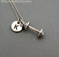Barbell necklace Barbell charm fitness by ShortandBaldJewelry