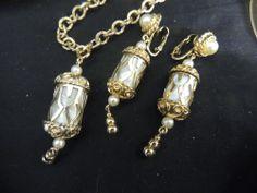 Vintage Signed Designer Bracelet Earrings EMJ Emmons Pearl Silvery Moon Gold MIB