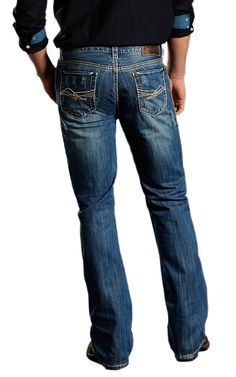 2d12753ac0 Rock   Roll Cowboy® Medium Stonewash Double Barrel Abstract Embroidery  Relaxed Fit Boot Cut Jeans
