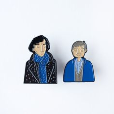 Sherlock Holmes and Doctor Watson Enamel Pin Set by andsmile