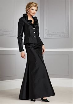 Really nice mother-of-the-bride outfit. My mother would want it in pants.