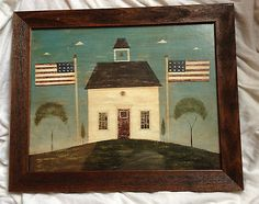 Warren Kimble Print Framed Country Life Brandon White School House Barn Folk Art | eBay