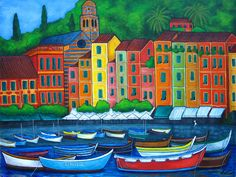 Colours of Portofino Acrylic Print by Lisa Lorenz. All acrylic prints are professionally printed, packaged, and shipped within 3 - 4 business days and delivered ready-to-hang on your wall. Choose from multiple sizes and mounting options. Framed Prints, Canvas Prints, Art Prints, City Folk, Caribbean Art, Naive Art, Great Artists, Fine Art America, Colours