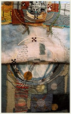 Basket selves align - always beautiful work and thoughts from Jude Hill. Idea of what to do with quilt remnants. Textile Fiber Art, Textile Artists, Embroidery Art, Embroidery Stitches, Fabric Art, Fabric Crafts, Art Tribal, Fabric Manipulation, Needlework