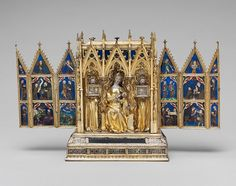 Reliquary Shrine, second quarter of 14th century Attributed to Jean de Touyl (French, died 1349) Made in Paris Gilt-silver, translucent enamel, paint; H. 10 in. (25.4 cm), W. (open) 16 in. (40.6 cm) The Cloisters Collection, 1962 (62.96)