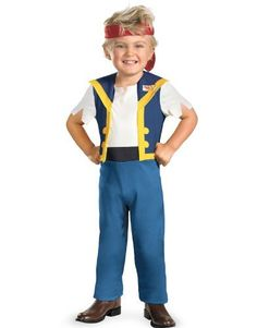 Disney Jake And The Neverland Pirates Jake Classic Costume Disguise. $17.81. Hand Wash. Official Disney Licensed Costume. 100% Polyester. Jumpsuit and bandana. Toddler Small (2T), Toddler Medium (3T-4T) and Boys Large (4-6)