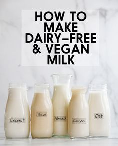 We tasted and tested so many dairy free and vegan milks to find the BEST and EASIEST ones to make at home! Click through for our dairy free milk guide! Healthy Milk, Vegan Milk, Healthy Drinks, Healthy Foods, Clean Eating Dinner, Clean Eating Recipes, Healthy Eating, Milk Recipes, Kitchen Recipes
