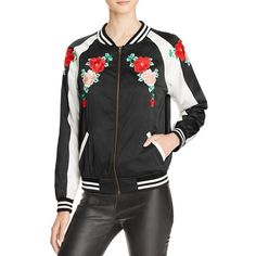 Aqua x Maddie & Tae Floral Embroidered Bomber Jacket - 100%... (28.585 HUF) ❤ liked on Polyvore featuring outerwear, jackets, genuine leather jackets, real leather jackets, embroidered bomber jackets, leather jackets and colorblock bomber jacket