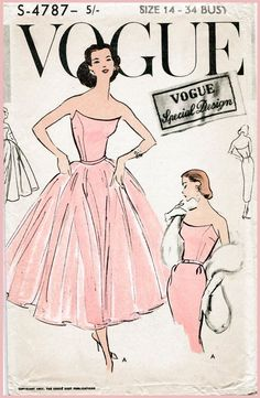 cocktail dress Vogue evening ball gown Vintage Sewing Pattern slim or full skirt strapless bustier Bust 32 34 36 38 reproLate ball gown or slim fitting evening dress pattern. One piece dress with tie-on skirt. Slim two piece skirt joins bare top bodi Vogue Vintage, Vintage Vogue Covers, Vintage Mode, 50s Vintage, Vintage Ladies, Vintage Outfits, Vintage Dresses, 1950s Dresses, Vintage Clothing