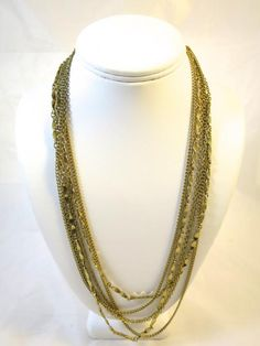 48 inch Long Chain Necklace Three Different Gold Tone Chains Bohemian Flapper Retro 60's Fashion Curb Cable and Link Chains ...