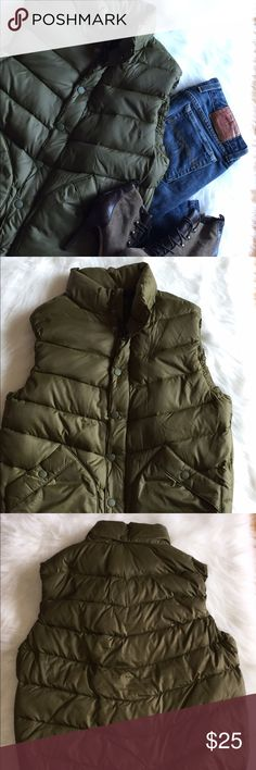 """Gap Women's Vintage Olive Puffer Vest SZ S Gap Vintage Women's Olive Green Puffer Vest. Size Small. Excellent Used Condition. Armpit To Armpit 21"""" Waist 39"""" Length 24"""" Please let me know if you have any additional questions and I will get back to you ASAP. GAP Jackets & Coats Vests"""