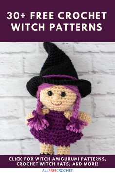 The witch is in! Crochet one of these cute witchy crochet patterns for Halloween! Get the free patterns here. Halloween Crochet Patterns, Easy Crochet Patterns, Amigurumi Patterns, Crochet Crafts, Crochet Dolls, Crochet Costumes, All Free Crochet, Halloween Celebration, Free Pattern
