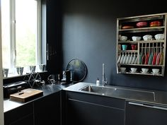 Aestate can help you promote your home. Contact us on www. Interior Design Inspiration, Daily Inspiration, Plates And Bowls, Black Kitchens, Interior And Exterior, Kitchen Cabinets, Brussels, Storage, Whimsical