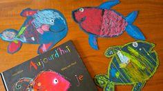 """Une activité créative inspirée de l'album jeunesse """"Aujourd'hui, je suis"""" de Mies van Hout : colorier des poissons à l'aide de craies grasses. Album Jeunesse, Toddler Art, Keith Haring, Preschool Art, Art Plastique, Art Education, Art Lessons, Art For Kids, Art Projects"""