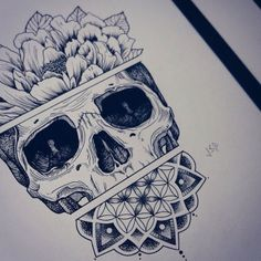 drawing art Cool tattoo flower skull Sketch body art flower tattoo ...