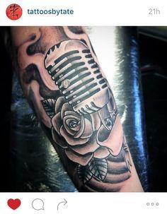 Vintage microphone tattoo