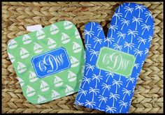 Monogrammed Nautical Oven Mitt & Pot Holder Set, Personalized Oven Mitts, Gifts for Mom, Housewarming Hostess Gift Monogrammed by ChicMonogram on Etsy