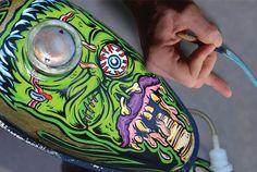 one shot paint kustom kulture Custom Motorcycle Paint Jobs, Custom Paint Jobs, Pinstriping, Motorcycle Tank, Futuristic Motorcycle, Pinstripe Art, Candy Paint, Helmet Paint, Car Painting