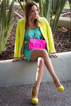 Cool Neon Colors, yellow, green, and pink. Standing out!