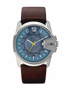 Diesel DZ1399 Men's Brown Leather Quartz Blue Dial Watch