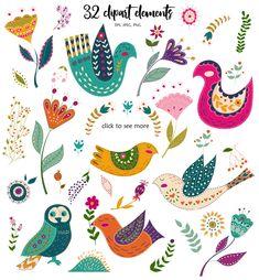 Folk art Birds and Flowers by Olesya Agudova on Bird Illustration, Floral Illustrations, Folk Art Flowers, Flower Art, Bird Clipart, Scandinavian Folk Art, Folk Embroidery, Bird Art, Pattern Art
