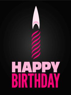 Pink Candle Happy Birthday Card. Make a wish! We hope it's to get this party started! This birthday card is lush and stylish in its minimalism. Two-toned black and pink make a bold statement, and this card is sure to make fashionistas and divas swoon.