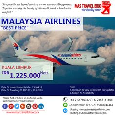 HOT PROMO Tiket MALAYSIA AIRLINES, Cek yuk Sekarang selagi ada!  Beli tiket pesawat & KAI, booking hotel dan beli paket tour diMas Travel Biro ajaa.  #mastravelbiro #promotiket #travelservices #tiketpesawat #travelagent #tourtravel #travelindonesia #opentrip #familytour