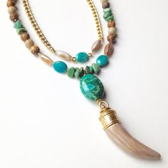 Tribal Horn Bone Necklace with Semi-Precious Beads Turquoise